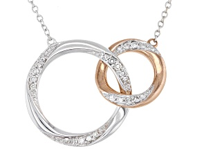 White Diamond 10K White & Rose Gold Convertible Interlocking Circle Necklace 0.17ctw