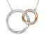 White Diamond 10K White & Rose Gold Convertible Interlocking Circle Necklace 0.17ctw