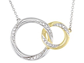 White Diamond 10K White & Yellow Gold Convertible Interlocking Circle Necklace 0.17ctw