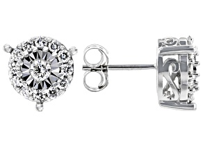 White Diamond 10K White Gold Earrings 0.52ctw