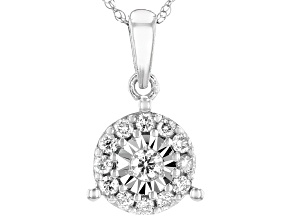 White Diamond 10K White Gold Pendant 0.26ctw