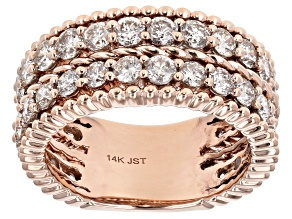 White Diamond 14K Rose Gold Eternity Band Ring 2.50ctw