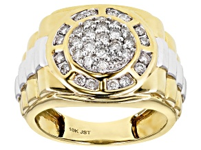 White Diamond 10K Yellow And White Gold Mens Ring 1.00ctw