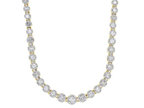 White Diamond 14K Yellow Gold Tennis Necklace 3.00ctw
