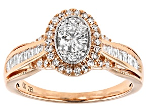 White Diamond 10K Rose Gold Ring 0.75ctw