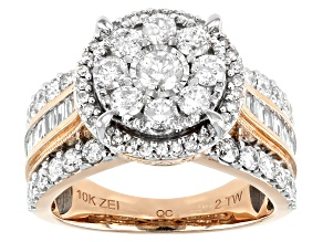 White Diamond 10K Rose Gold Cluster Ring 2.00ctw
