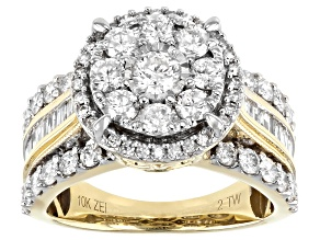 White Diamond 10K Yellow Gold Cluster Ring 2.00ctw
