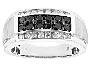 Black and White Diamond 10k White Gold Mens Band Ring 1.00ctw