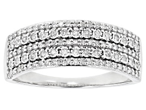 White Diamond 10k White Gold Wide Band Ring .25ctw