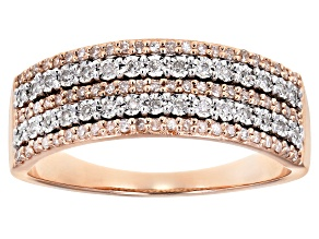 White Diamond 10k Rose Gold Wide Band Ring .25ctw