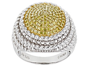 Yellow Diamond Rhodium Over Sterling Silver Dome Ring .50ctw