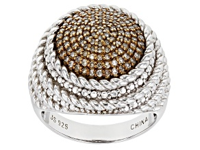 Champagne Diamond Rhodium Over Sterling Silver Dome Ring .50ctw