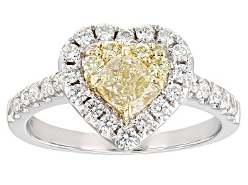 Picture of Natural Yellow And White Diamond 14K White Gold Heart Ring 1.29ctw