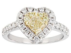 Natural Yellow And White Diamond 14K White Gold Heart Ring 1.29ctw