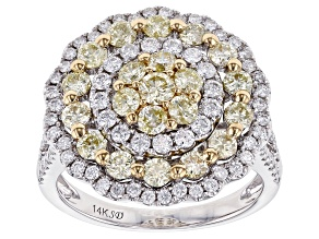Natural Yellow & White Diamond 14K White Gold Ring 2.00ctw