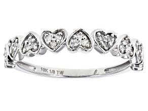 White Diamond 10K White Gold Heart Band Ring 0.12ctw