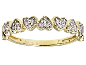 White Diamond 10K Yellow Gold Heart Band Ring 0.12ctw