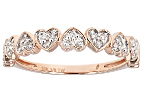 White Diamond 10K Rose Gold Heart Band Ring 0.12ctw