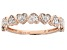 White Diamond 10K Rose Gold Heart Band Ring 0.12ctw