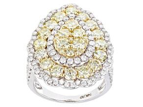 Natural Yellow & White Diamond 14K White Gold Ring 3.84ctw