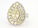 Natural Yellow & White Diamond 14K White Gold Ring 3.84ctw