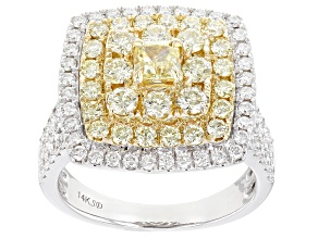 Natural Yellow And White Diamond 14K White Gold Cluster Ring 2.30ctw
