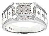 White Diamond Rhodium Over Sterling Silver Mens Ring 0.65ctw