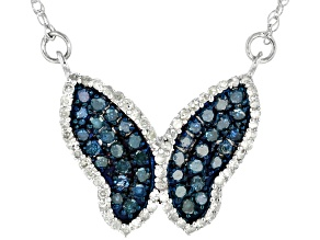 Blue And White Diamond Rhodium Over Sterling Silver Butterfly Necklace .83ctw