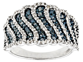 Blue And White Diamond Rhodium Over Sterling Silver Wide Band Ring 1.16ctw