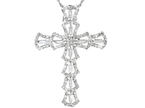 "White Diamond Rhodium Over Sterling Silver Cross Pendant With 18"" Rope Chain .85ctw"