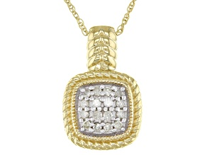"White Diamond 14K Yellow Gold Over Sterling Silver Cluster Pendant With 18"" Rope Chain .25ctw"