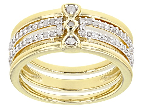 White Diamond 14K Yellow Gold Over Sterling Silver Band Ring 0.25ctw
