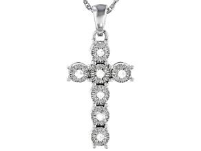 White Diamond Rhodium Over Sterling Silver Cross Pendant With 18
