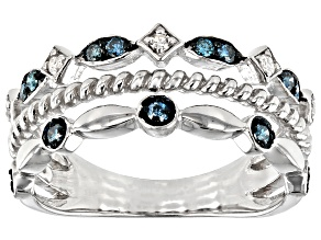 Blue And White Diamond Rhodium Over Sterling Silver Band Ring 0.25ctw
