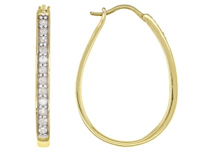 White Diamond 14K Yellow Gold Over Sterling Silver Hoop Earrings 0.50ctw