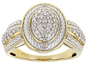 Picture of White Diamond 14K Yellow Gold Over Sterling Silver Cluster Ring 0.50ctw
