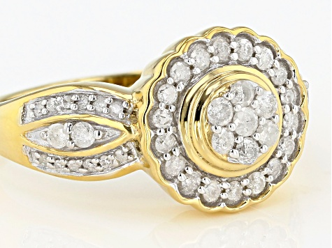 White Diamond 14K Yellow Gold Over Sterling Silver Cluster Ring 0.50ctw