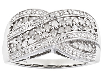 Picture of White Diamond Rhodium Over Sterling Silver Crossover Ring 0.50ctw