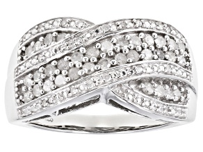 White Diamond Rhodium Over Sterling Silver Crossover Ring 0.50ctw