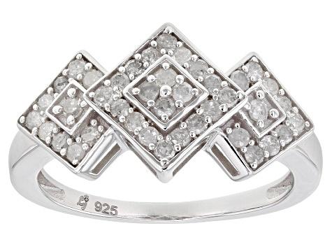 White Diamond Rhodium Over Sterling Silver Cluster Ring 0 50ctw Dod078 Jtv Com