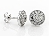 White Diamond 14K White Gold Cluster Stud Earrings 0.50ctw