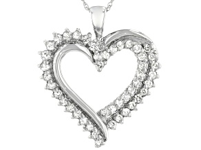 White Diamond 10K White Gold Heart Pendant 0.50ctw