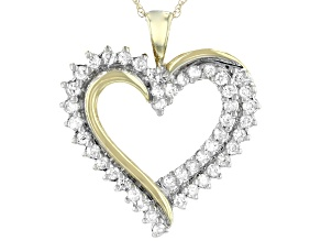 White Diamond 10K Yellow Gold Heart Pendant 0.50ctw