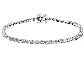 White Diamond 10K White Gold Tennis Bracelet 1.00ctw