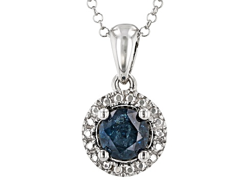 Blue Diamond Rhodium Over Sterling Silver Solitaire Pendant 0.45ct