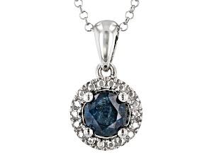 Blue Diamond Rhodium Over Sterling Silver Solitaire Pendant 0.45ctw