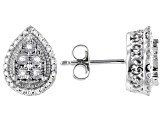 White Diamond Rhodium Over Sterling Silver Cluster Earrings 0.20ctw