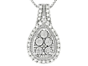 White Diamond Rhodium Over Sterling Silver Cluster Pendant 0.20ctw