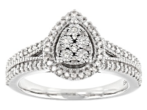 White Diamond Rhodium Over Sterling Silver Cluster Ring 0.20ctw