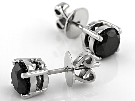 Black Diamond Rhodium Over Sterling Silver Stud Earrings 2.00ctw
